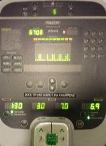 Cardio: 90 min, distanse: 10.5 km, snittfart 6.9 km/t